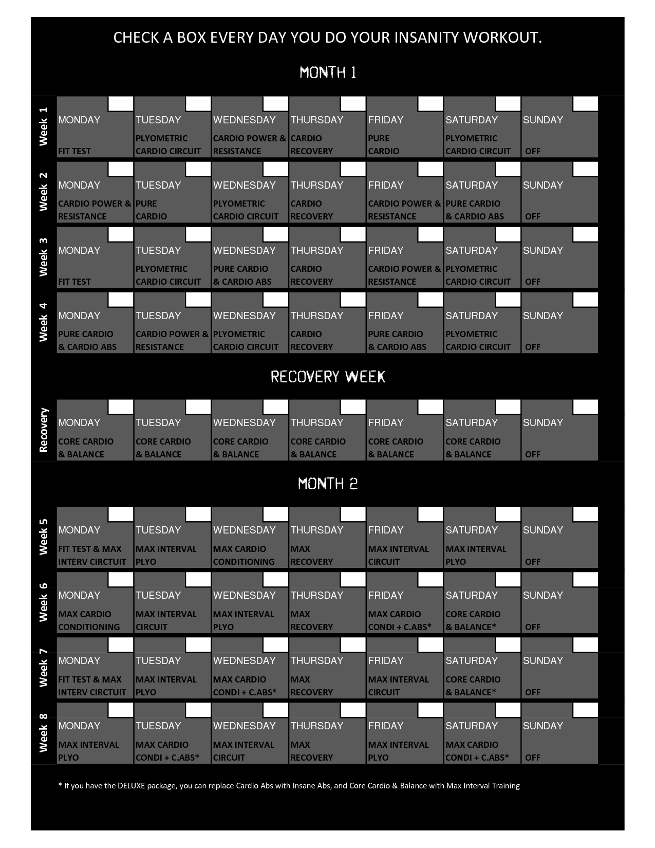 Insanity Printable Fit Test Printable insanity workout